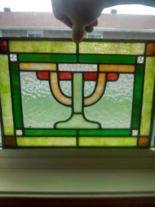 1902 Stained glass matching pair