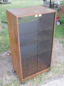 Vintage Stereo Cabinet with French Tinted Glass Doors