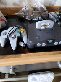 Nintendo 64 with game