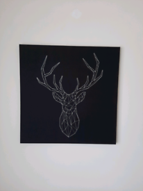 Ikea Silver Stag Embroidery Black Canvas Picture