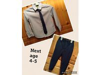 Boys smart trousers and shirt with tie