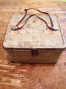 Antique Vintage Metal Lunch Pail with Leather Handle