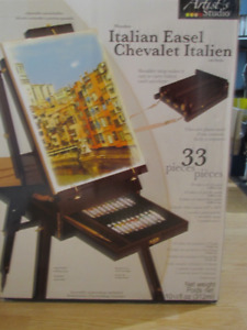 Wooden Italian Artist Easel + accessories