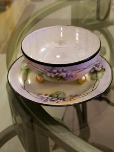 Vintage Handpainted Made in Japan Footed Bowl With A Plate