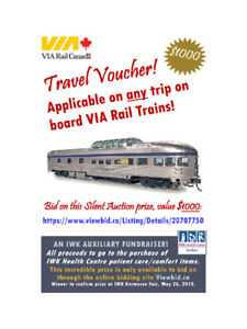 Kermesse OnlineAuction - $1000 VIA Rail TravelVoucher til May 23