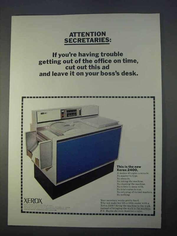 1966 Xerox 2400 Copier Ad - Attention Secretaries