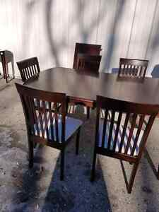 Dining set.table with 6 chairs espresso colour