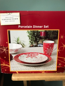 Christmas Porcelain Dinner Sets plus serving plate and extras!