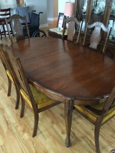 Antique Table and Chairs with Hutch