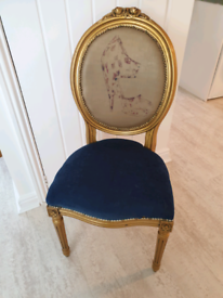chair gold and blue fabric detail wood with and studs
