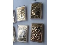 Full rare set of six 23carat gold plated cards