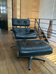 USED Eames Lounger Chair and Ottoman Black - Best Reproduction!