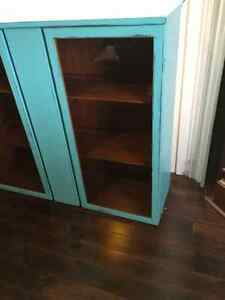 Display cupboard, painted a cool blue and distressed.... London Ontario image 7