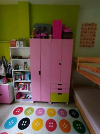 Girls IKEA wardrobe and storage set
