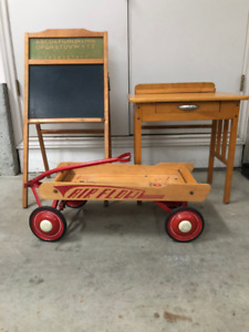 antique AIR FLOW wagon, children's blackboard and desk