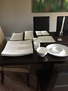 white and glass serving platters and bowls