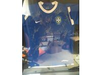 Squad signed framed Brazil shirt with coa