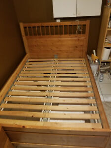 IKEA Hemnes Double Bed w Slats Natural Stain