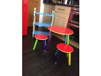 Child's table / study table with stools and shelf unit