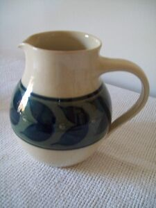 NORFOLK POTTERY PITCHER FROM ENGLAND GREEN LEAVES ON CREAM