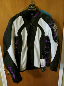 Women's motorcycle jacket and helmet
