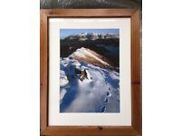 "Beautiful Wooden Framed Lake District Winter Scene 24""x19"""