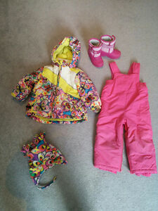 24 mos girls Children's Place snowsuit and size 7 boots