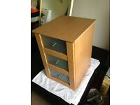 3 drawer bed side table chest of drawers glass