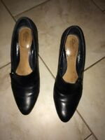 Woman's Clark's black leather shoes