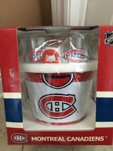 Montreal Canadians 4 Glass Set, Coasters, Opener & Bucket