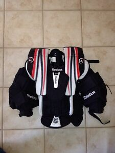 Goalie Chest protector, skates and pants.