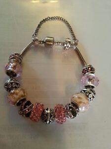 Bracelet de type pandora avec perles de murano