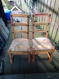 Six good solid pine chairs