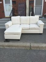 White leather sectional