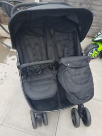 Black double pushchair