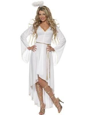 Smiffy Engel Kostüm (Damen Weihnachten Verkleidung Engel Kostüm & Wings Weiß/Gold Smiffys)
