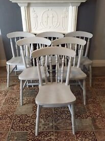 Beautiful solid pine farmhouse chairs set of six