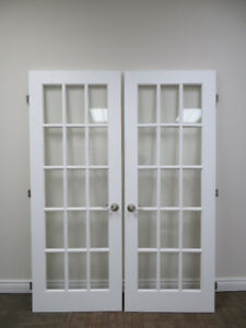 White Double Glass Wooden door - Single Door 80 Inch x 30 Inch n