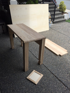 Partially finished solid alder console table