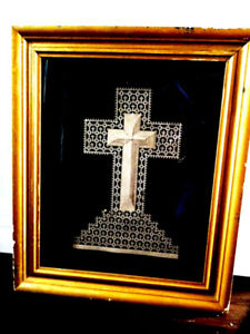 19thC cross RELIGIOUS FRETWORK 12 LAYERS! chip carved TRAMP ART