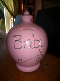 Terramundi pottery money pot newborn baby girl christening gift
