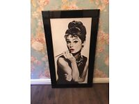 Large Audrey Hepburn framed picture
