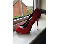 Red suede peep toe heels BNIB size 6.5