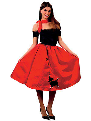 50s Red Rock n Roll Bopper Fancy Dress Costume 1950s Fifties Ladies Outfit New