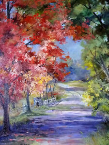 """Horse and Buggy Trail by M McKay """"Old Country Road"""" 1950's"""