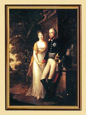 Königspaar Friedrich Wilhelm III. von Preußen DEUTSCHES REICH 71 im Goldrahmen