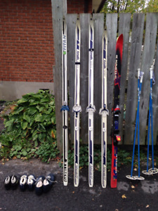 Boots, poles, downhill and cross country skis
