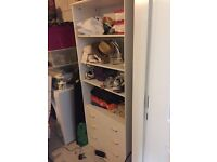 White drawer and shelving unit