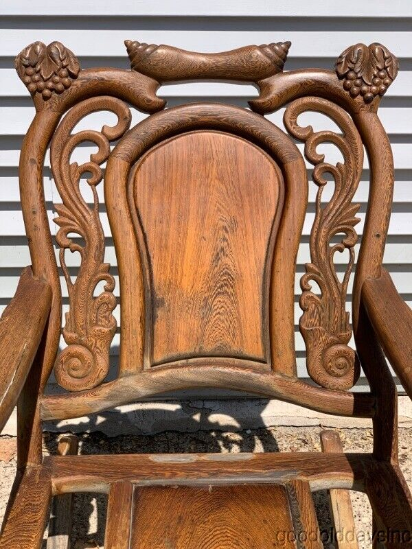 Antique Chinese Fantasy Carved Huanghuali Rosewood Rocking Chair