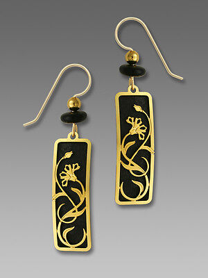 - Adajio BLACK Column EARRINGS with Art Nouveau Floral Overlay Gold Plated - Box